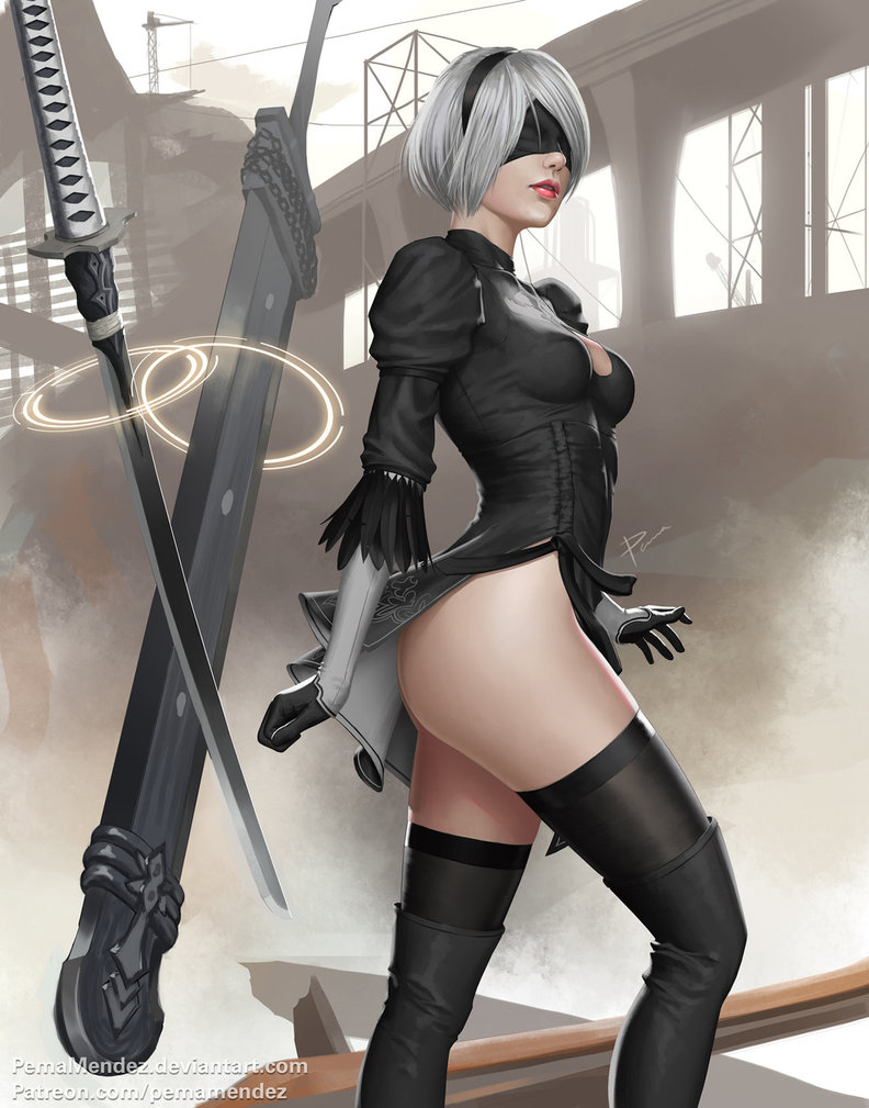 nier-automata-2b-sexy-ass-art-by-pemamendez-2